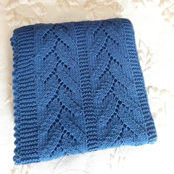 Handmade Other - Hand Knitted Blue / White Baby Blanket.